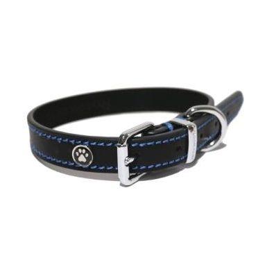 Rosewood Lux Leather Black Dog Collar 25 - 35cm